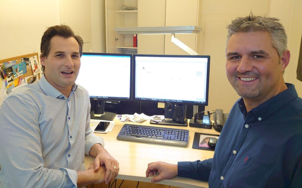 Roger Lüscher und Thomas Kohler anlässlich der Produktiv-Schaltung von invoiceR
