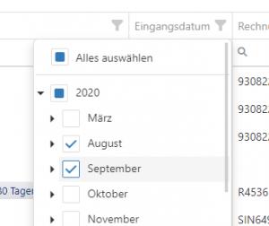Selektion von Datums-Bereichen auf Jahres-, Monats- oder Tages-Basis
