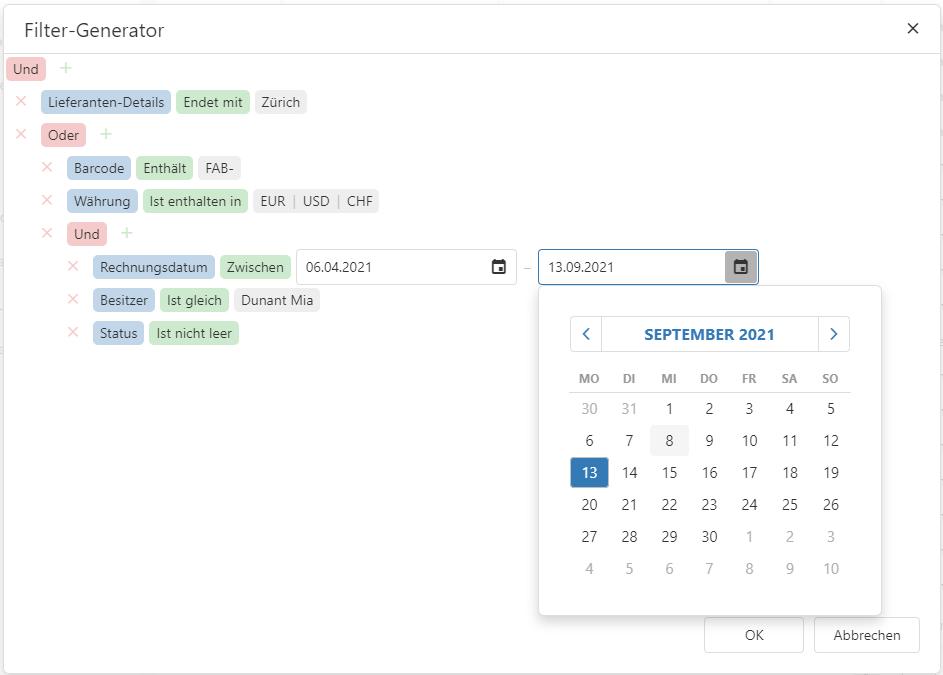Baum-Struktur des Filters für die Suche im Rechnungsarchiv