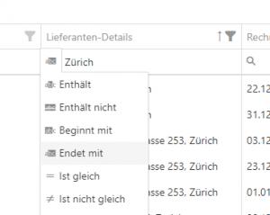 Text-Filter (enthält, beginnt mit usw.)